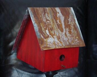 Antiqued Red Salt Box Birdhouse
