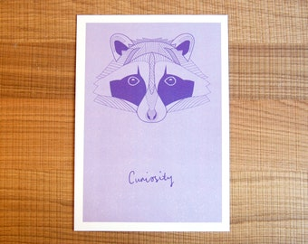 SALE*  Raccoon of Curiosity // Geometric Print // Colourful Home Decor // Digital Print // Nursery Wall Art