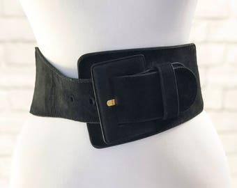 Vintage 80s Black Asymmetrical Suede Leather Wide Stretch Belt M L Express 27 28 29 30 31 32