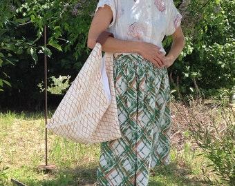Origami handprinted hemp/cotton mix bag