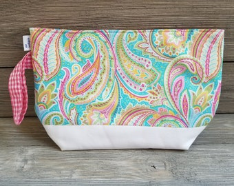 Large paisley fabric project bag