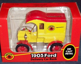 1905 Ford Delivery Car die cast coin Bank Ertl mint in box 1988