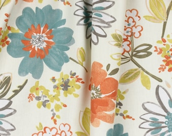 Floral Curtains / Blue Orange And Gray Curtains / Bedroom Curtains /  Blackout Curtains / Living