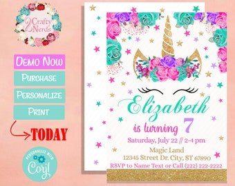 Unicorn Birthday Invitation Party Hot Pink, Turquoise, Lavender Purple | Editable Instant Download | Edit Online NOW Corjl | INSTANT ACCESS