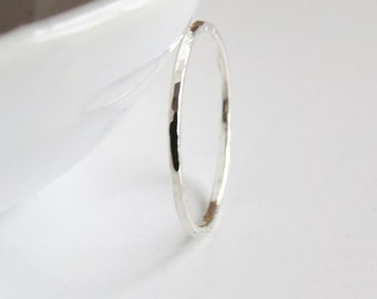 Super Skinny Stacking Ring, Light Hammered Ring, Thin 1 mm Ring, 925 sterling Silver Ring , Skinny Ring, Simple Ring, Dainty Ring