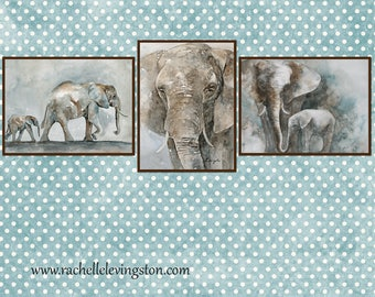 elephant art for boy's room art for boy's Nursery art PRINT SET jungle animal art prints for boys room africa watercolor painting SET 3 dp