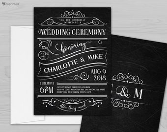 Chalkboard Wedding Invitation, Rustic Wedding Invitation, Chalk Wedding Invitation, Vintage Chalkboard Invite, Boho chic wedding invitations