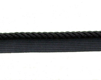 Black Flange Cord, 8 mm, 4.8 metres in 2 pieces