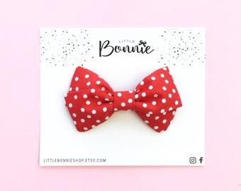MINI DOLLY red polkadots, minnie mouse baby bows,  Minnie Birthday party, Girl Headband, Baby nylon headband,  toddler hair clip,