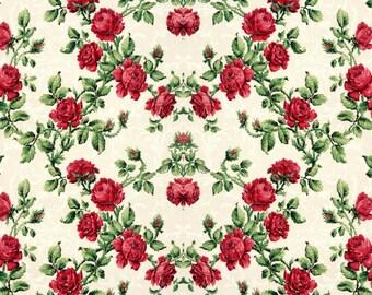 antique french botanical wallpaper red roses illustration digital download