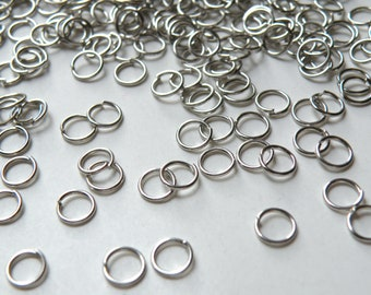100 Round Jump Rings antique silver platinum plated 6mm 21 gauge DB00171