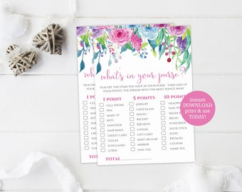 Floral Whats In Your Purse Game, Baby Shower Games, INSTANT DOWNLOAD, What's In Your Purse, Printable Baby Shower Activity, Baby Shower Game
