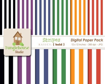 Stripes Digital Paper Pack Red Green Blue Digital Papers Instant Download Digital Scrapbooking Basics Bold Style