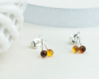 Baltic Amber Earrings Mini Cherry Studs with Sterling Silver Natural Amber Jewelry Women Girl Sunny Earrings Perfect Amber Gift for Her