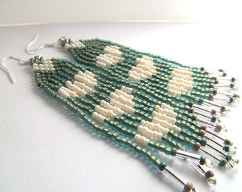 Indian Beadwork Earrings, Native American Style, Teal and Cream, Heart Earrings, Fringe Bead Dangles, Boho Jewelry, moonlilydesigns