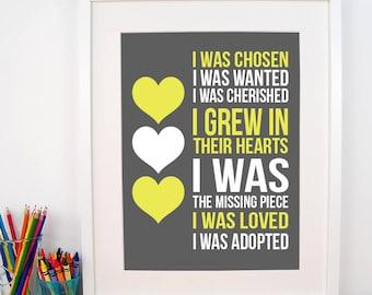 Adoption Print - I Was Chosen Print - Adoptive Mother Gift - Adoption Shower - Nursery Decor - Nursery Art