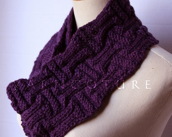 The Basketweave Knit Scarf UNISEX - Eggplant
