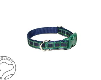 "Campbell Clan Tartan Small Dog Collar - Thin Dog Collar - 1/2"" (12mm) Wide - Blue Green Plaid - Choice of collar style and size"