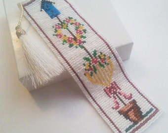 Seed bead Heart and Floral Bookmark - Over 2600 Miyuki Delica Seed Beads used!