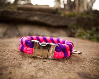 Paracord Dog Collar - Neon Pink and Purple (Double Fishtail Weave)