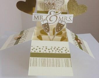 Handmade Wedding card in a box, Golden  theme Wedding pop up card, Golden Anniversary card