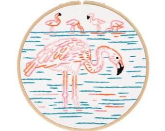 FLAMBOYANT FLAMINGOS embroidery kit - hand embroidery kit, diy kit, flamingo embroidery by StudioMME