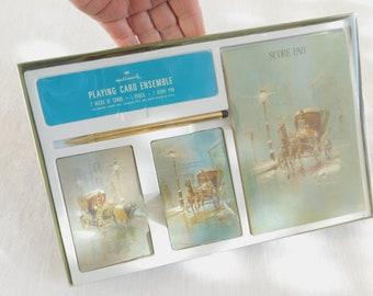Vintage Hallmark Bridge Companion, Playing Card Ensemble, 2 Decks of Cards, 1 Pencil, 1 Score Pad, New In Box, Gift for Bridge Partner, Old