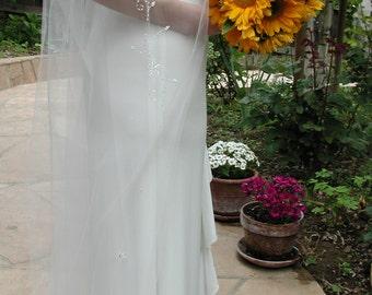 Wedding veil - Hand beaded wedding veil with pencil edge.