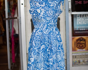 """1950s Vintage Hawaiian Dress in Blue Cotton with Delicate White Detailing by """"Waikiki Modes"""""""
