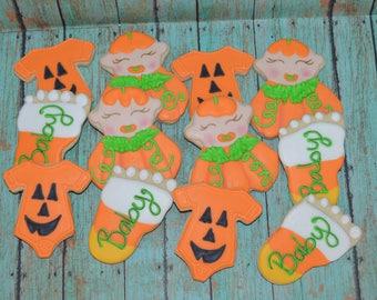 pumpkin baby shower cookies,