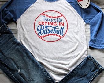 FAST SHIPPING! Women's No Crying In Baseball Shirt 3/4 Length Sleeves