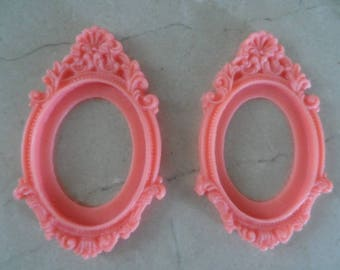 set of 2 holders vintage cameo 40 x 30 mm