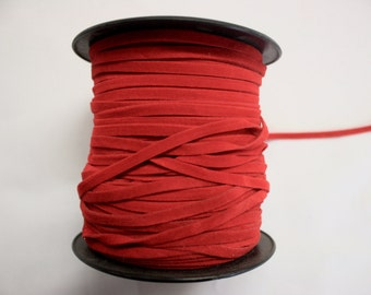 Red Faux Suede Trim 10 Yards