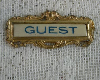 Antique  Badge, Guest Badge, Whitehead And Hoag, Enamel On Brass