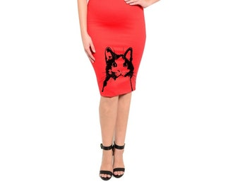 Womens Cat Skirt Plus Size clothing Cats Dress Retro Style Cute Pencil Skirts Pin Up Girl Red Dresses Spring Animal Prints XL 2XL 3XL