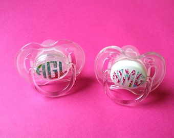 Monogram pacifier etsy monogrammed pacifier personalized baby gift baby girl gift baby girl gift negle Image collections
