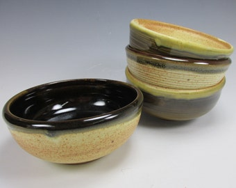 Handmade, stoneware, four bowl set