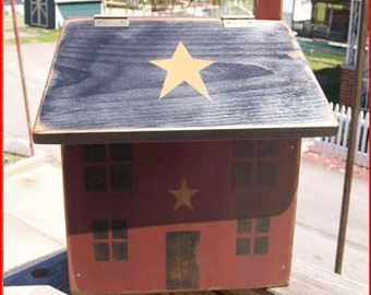 Primitive wooden wood saltbox house mailbox Mail Box Burgundy