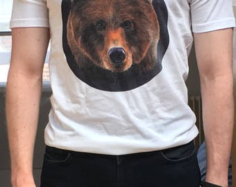 men's and women's bear t-shirt – grisly bear tee illustration.