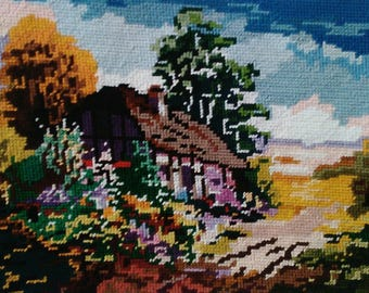 Haven in the Midst of Nature Tapestry Needlepoint Handmade Wall Hanging 22x30cm