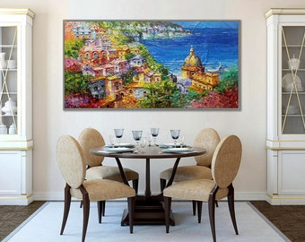 "Positano Amalfi Coast Thick Oil Painting on canvas 62x31"" / 160x80cm"
