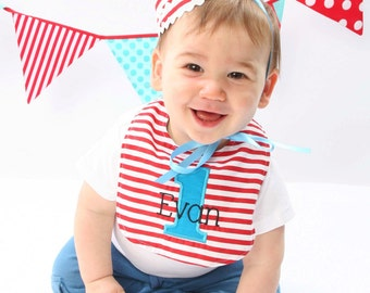 Boys first bithday HAT and BIB - Dr. Seuss in red and white stripes adorned with aqua - Free personalization