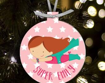 Super hero girl ornament - gift for superheros - kids superhero Christmas ornament SHCOG
