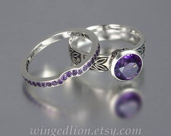 LAUREL CROWN silver engagement set ring and wedding band with Amethyst