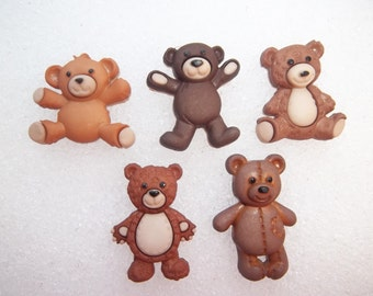 Stuffed With Love Magnets / Set of Five Teddy Bear Magnets / Animal Magnets