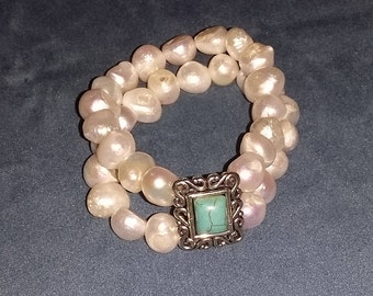 Two threat of pearls and turquoise bracelet