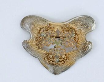 1900s Edwardian art nouveau silver plated brass floral sash brooch / antique 1910s large gold tone gilt flower pin