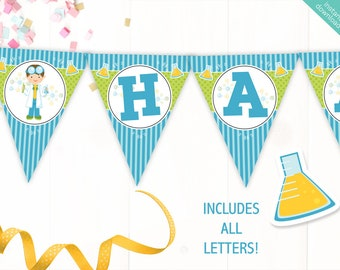 Instant Download Boy Scientist Printable Party Banner, Science Happy Birthday banner, Scientist Party, Includes ALL Letters + Ages + Boys