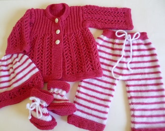 Baby Girl Outfit, Knitted Baby Set,Newborn Girl Outfit, Clothing Newborn, White and Fuchsia Set, Baby Shower Gift, READY TO SHIP