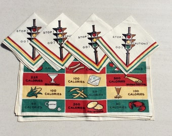 Vintage Placemats & Napkins Set of 4 Calorie Counting and Stoplights MINT